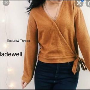 Madewell Texture&Thread Faux Wrap Top-Bark-Size M